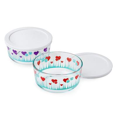 Pyrex Simply Store 4-Pc Lucky In Love 4 Cup Storage Set W/ Lids