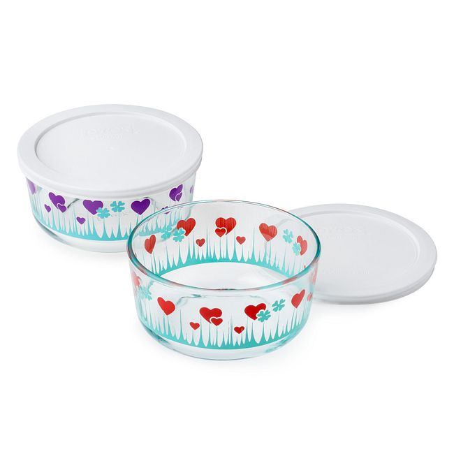 Lucky In Love 4-Piece Glass Food Storage Container Set with Lids
