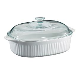 French White® 4-qt Oval Casserole with Glass Lid