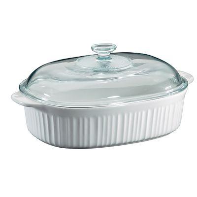 Corningware French White 4-Qt Oval Casserole W/ Glass Lid