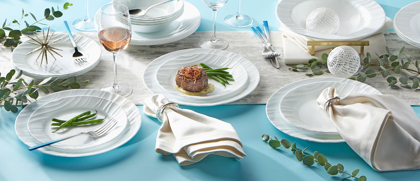 Swept dinnerware collection showing a holiday tablescape.