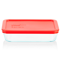 Simply Store® 3 Cup Rectangular Storage Dish w/ Red Lid on vessel