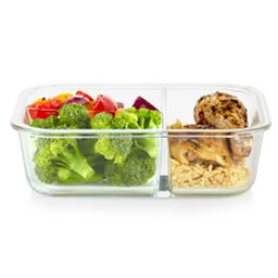 MealBox 5.9-cup Glass Food 3 Compartment Storage Container with food inside on the table