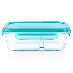 MealBox 3.4-cup Divided Glass Food Storage Container with Turquoise Lid
