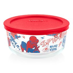 Marvel Spider-Man 4-cup Round Glass Storage Container with Red Lid
