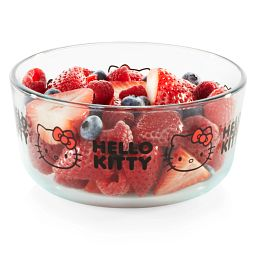 Hello Kitty® 4-cup Decorated Storage Glass Storage Container with strawberries & blueberries inside