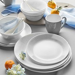 Woven Lines 16-piece Dinnerware Set, Service for 4 on the table