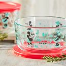 Mickey & Friends™ 4-cup Round Glass Storage Container, Holiday Edition with Red Lid