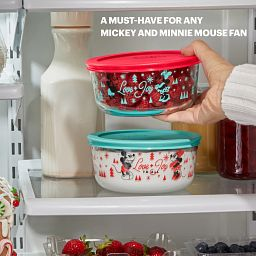 Mickey & Friends Holiday Glass Storage with food being placed in fridge with text: a must have for any mickey & minnie mouse fan