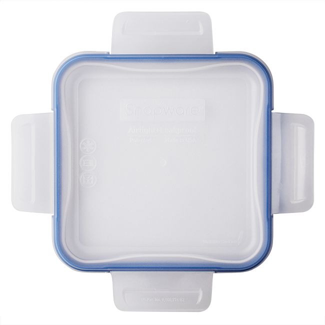 Total Solutions Square Medium Plastic Lid w/ Blue Seal