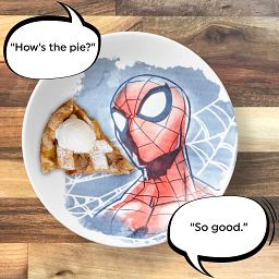 """Spider-man 8.5"""" Salad Plate on the table with pie"""