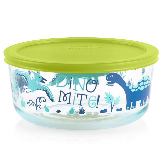 Dino-Mite 7-cup Glass Food Storage Container with Lime Green Lid