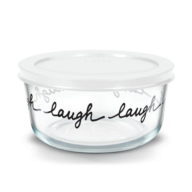 Celebrations Laugh 4-cup Glass Food Storage Container with White Lid