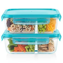 Meal Box 4-piece 3.4 cup Divided Glass Food Storage Set with veggies & fruits inside
