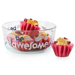 Be Awesome 7-cup Gray Glass Food Storage Container with small muffins inside