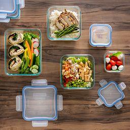 snapware containers open on table with food inside