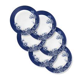 """Indigo Blooms 11"""" Round Dinner Plate, 6-pk"""