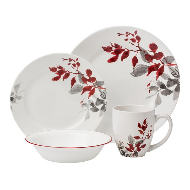 Kyoto Leaves 16-piece Dinnerware Set, Service for 4