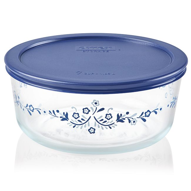 Prairie Garden 7-cup Glass Food Storage Container with Blue Lid