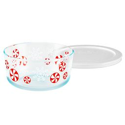 4 Cup Peppermint Storage Dish with White Lid