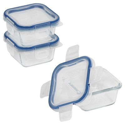 Snapware Total Solution Pyrex Glass Food Storage Value 6-Pc Square Set