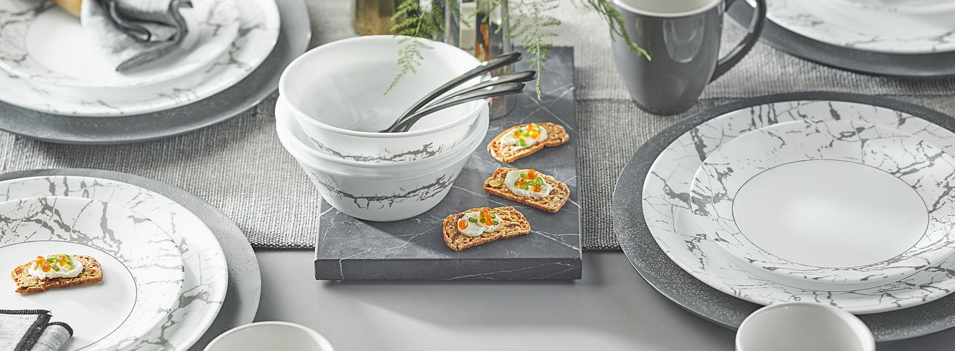 Stone Grey dinnerware pattern featuring grey and white marbled pattern
