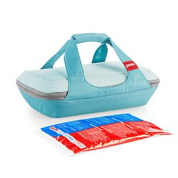 4-piece Deep Green Portable set with baking dish inside carrier
