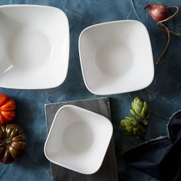Vivid White 3-pc Serving Bowl Set on the Table