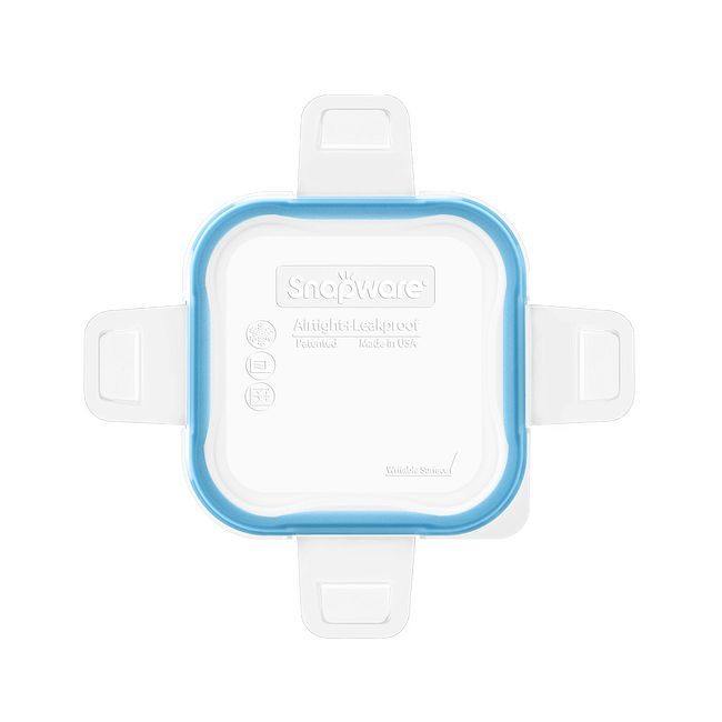 Total Solutions Square Small Plastic Lid w/ Light Blue Seal