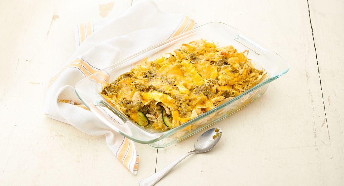 Chicken-Zucchini Chilaquiles Bake