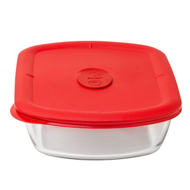 Pro 5 Cup Rectangle Storage Bowl w/ Red Vented Lid
