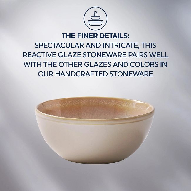 Stoneware 21-ounce Bowls, Oatmeal, 4-pack