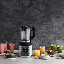 Instant Ace Nova Blender shown with shakes, juices and food in bowls