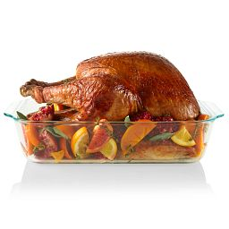 "Pyrex Deep Dish 9"" x 13"" Baking Dish Displayed with Turkey"