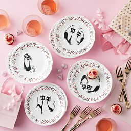 "Loving Cats 6.75"" Appetizer Plates, 8-pk on the table"