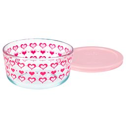 Smart Store Hearts 4 Cup Decorated Dish w/ Pink Lid