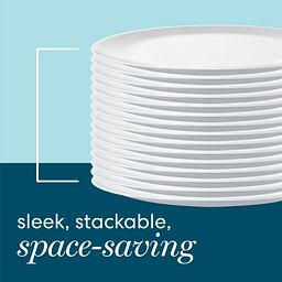sleek, stackable space-saving text with stack of white plates