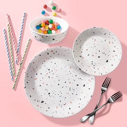 Terrazzo Rosa 18-piece Dinnerware Set, Service for 6 on the table