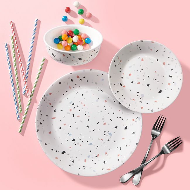 Terrazzo Rosa 18-piece Dinnerware Set, Service for 6