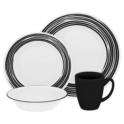 Boutique Brushed 16-pc Dinnerware Set, Black