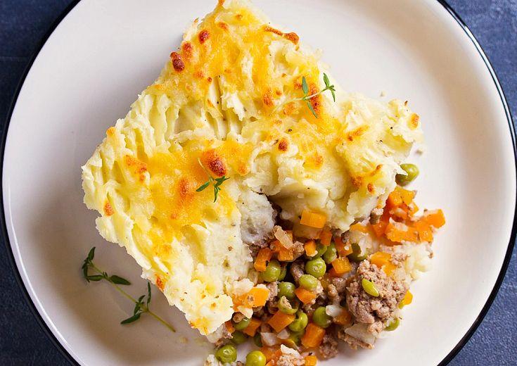 Savory Shepherd's Pie served on a corelle dinner plate