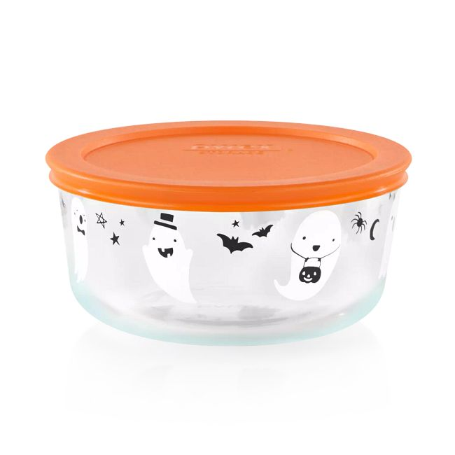Ghosts 4-cup Glass Food Storage Container with Orange Lid