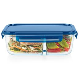 MealBox 5.5-cup Divided Glass Food Storage Container with Blue Lid with food inside