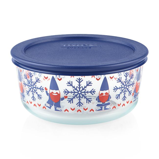Gnome For the Holidays 4-cup Glass Food Storage Container with Blue Lid