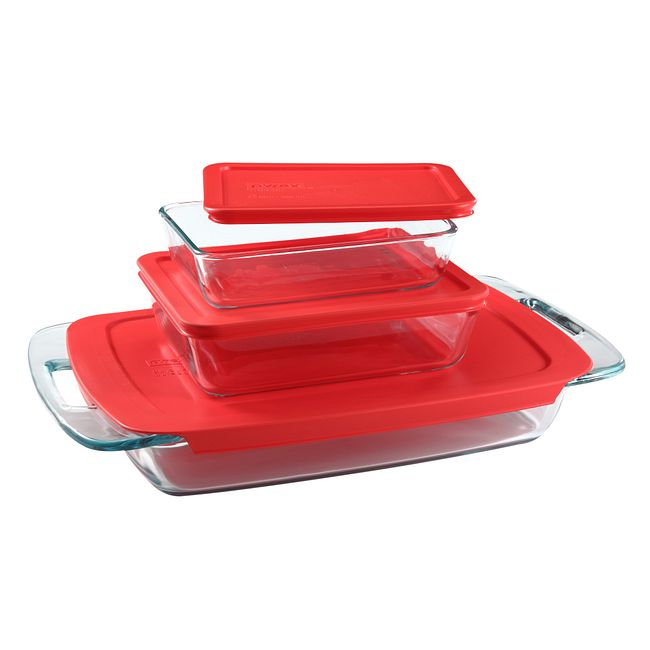 6-piece Glass Bakeware and Storage Container Set with Red Lids