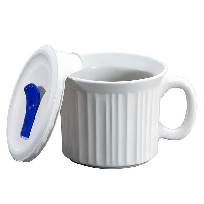 French White 20-oz Meal Mug w/ Vented Lid