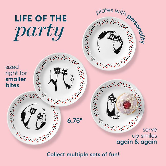 "Loving Cats 6.75"" Appetizer Plates, 8-pack"