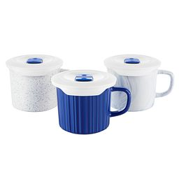 6-piece 20-ounce Meal Mug Set (1: speckled blue, 1: blueberry blue and 1: marble blue)