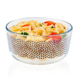 4 cup Stars Swirl Storage Dish with Food in Dish