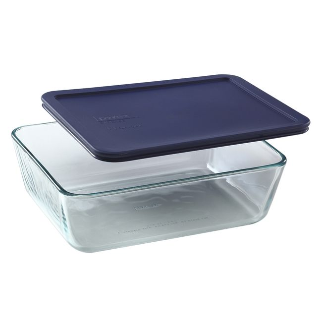 11-cup Rectangular Glass Food Storage Container with Blue Lid